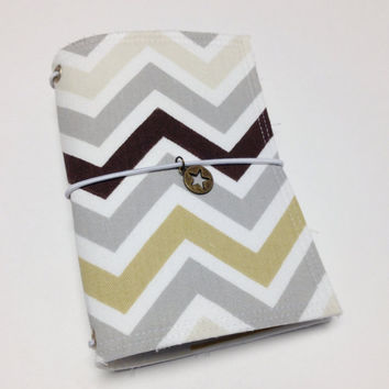 Fabric Fauxdori Travelers Notebook Travel Journal Planner Cover Midori cover book style cover with charm- grey/taupe chevron