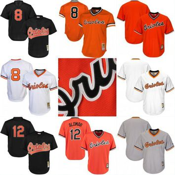 Baltimore Orioles Throwback Jersey Cooperstown Collection Men's 8 Cal Ripken Jr. 12 Roberto Alomar Baseball Jerseys Orange White Black