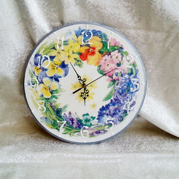 Romantic delicate shabby chic spring flowers decoupage wooden wall clock gift idea for her white pastel pansies lilac
