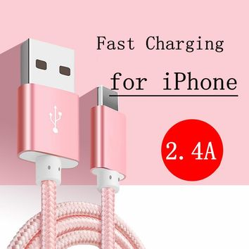 2.4A Original 8 PIN to USB Charger cable for iphone 7 6 6s 5 plus ipad ipod nano,Nylon Braided Cable Cord,MFI for Apple IOS 10