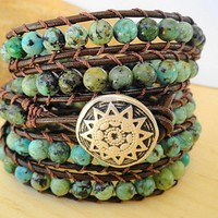 African Turquoise Beaded Leather Wrap Bracelet 5Xwrap Chan Luu Styl......