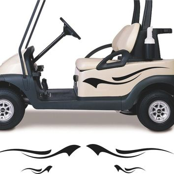 BLACK Golf Cart Go Cart Stickers Graphics Decals Tribal Flames Stripes GC65
