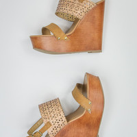 Eyelet Wedges in Natural and Tan