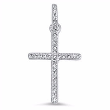 Sterling Silver Thin Cross Pendant with Brilliant Round cut Simulated Diamond CZ
