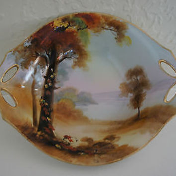 Vintage Nippon Fine China Serving Dish Hand Painted Fall Woods Scene