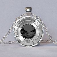 CAMERA LENS PENDANT Vintage Camera Lens Necklace Silver Black Photographer Gift Photography Jewelry Camera Gift 1 Inch Not An Actual Lens
