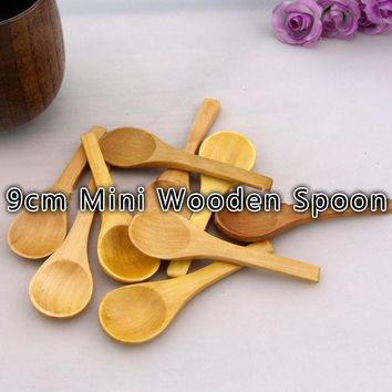 100pcs/lot 9cm Mini Wooden Bamboo Spoon Lovely Seasoning Spoon Ice Cream Spoon