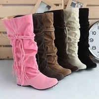 Plus Size Womens Winter Warm Boots Fashion Faux Suede Slouchy Boho Fringe Mid Calf Boots Shoes
