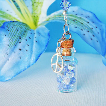 Crystal Rear View Mirror Car Charm Swarovski Lt. Blue Crystals and Peace Sign Car Accessory