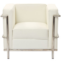 Le Corbusier Style LC2 Arm Chair in Genuine White Leather