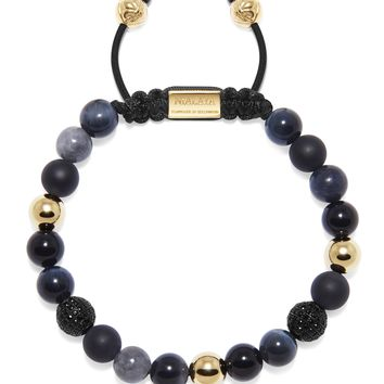 Men's Beaded Bracelet with Agate, Onyx, Black Jade, and Blue Tiger Eye