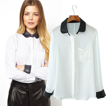 Peter Pan Collar Faux Embroidered Chiffon Long Sleeve Blouse