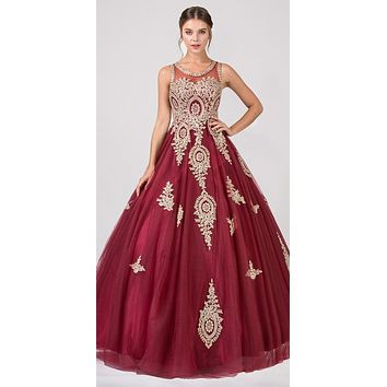 Burgundy Cut-Out Back Quinceanera Dress with Gold Appliques