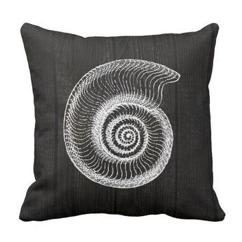 Sea Shell White Vintage Black Distress Wood Pillow