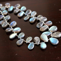 Labradorite Gemstone Briolette AAA Grey Smooth Pear Teardrop Drilled 14mm 14 beads