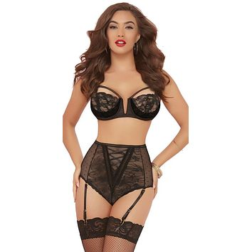 Sexy Burlesque Babes Bra and Panty Lingerie Set