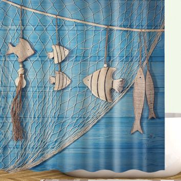 Fish Print Shower Curtain With 12 Hooks