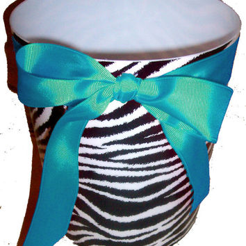 Zebra Print Waste Basket - Trash Can - Black & White - with Turquoise  Ribbon and  Bow (Teal, Aqua)