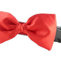 Red Bow Tie Dog Collar - Dog Bow Tie Collar - Wedding Attire for Dogs - dog wedding - red satin dog bow tie - formal dog bow tie