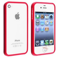 Everydaysource For Apple iPhone 4 and 4S Bumper TPU Case , Red Shinny