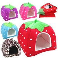 Pet Dog Cat House Soft Winter Strawberry Dog Cave Cute Comfortable Cat Bed
