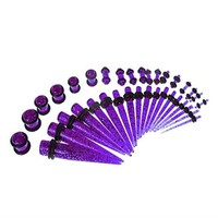 BodyJ4You Gauges Kit 18 Pairs Purple Glitter Acrylic Tapers & Plugs 14G 12G 10G 8G 6G 4G 2G 0G 00G 36 Pieces