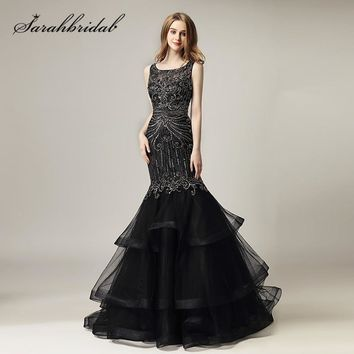 Black Long Evening Dresses 2018 New Arrival Luxury Beaded Crysta cf6e59bf718e