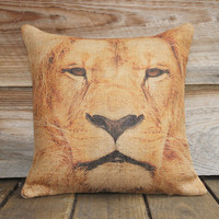 Lion Burlap Animal Pillow Cover, 16x16