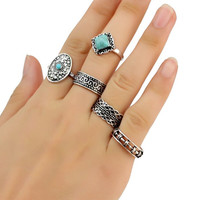 5 PCS Retro Turquoise Geometry Rings