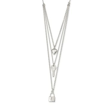 925 Sterling Silver Polished Lock, Heart and Key Multi-Strand 16in Necklace 16 Inch