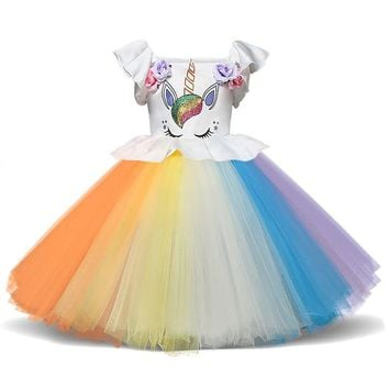 Unicorn Costume Kids Rainbow Tutu Dress Children Clothing Toddler Girl First Birthday Outfits Baby Christening Colorful Gowns