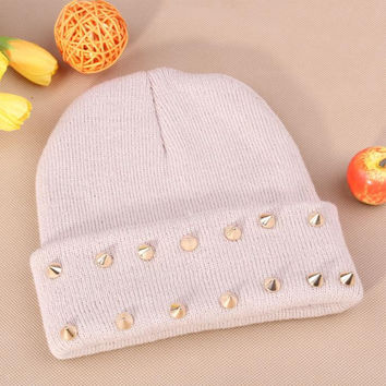 Gothic Punk Industrial Emo Edm Ebm Rave Rock Metal Stud Bullet Autumn Winter Warm Womens & Mens Knitted Beanie White Cuffed Skully Hat