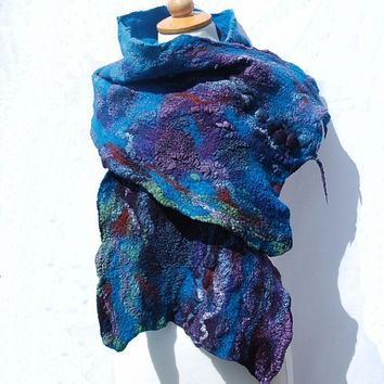 Nuno felted scarf,  felt scarf ,hand dyed, merino wool, cotton gauze, fiber art gift turoise, blue peacock, purple,blue