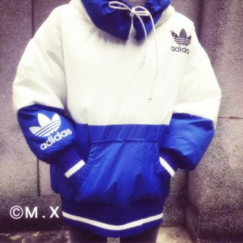 ADIDAS Fashion loose cotton-padded jacket bread warm cotton-padded clothes suit men and women Blue