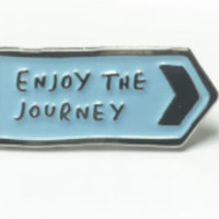 Enjoy the Journey Enamel Pin in Robin Blue