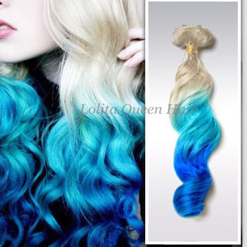 Blue hair extensions,Atlantic Blue Ombre Hair Weft,Three Colors MERMAID Human Hair,3 bundles hair weft one set