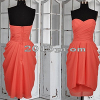 Knee Length Watermelon Red Bridesmaid Dresses,Chiffon Prom Dresses,Party Dresses,Homecoming Dresses