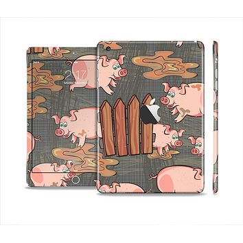 The Cartoon Muddy Pigs Skin Set for the Apple iPad Mini 4