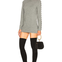 Chloe Superfine Knit Embellished Sleeve Sweater Dress in Cozy Grey | FWRD