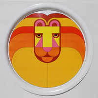 Simel Spain Lion Metal Tray Vintage Bold Bright Colors 70's Style 13""