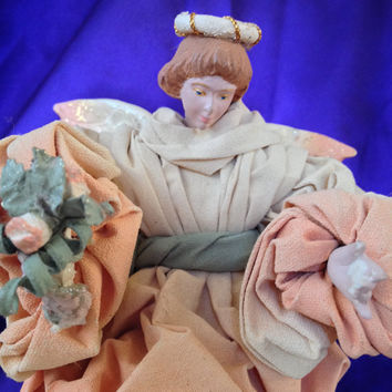 Sylvestri Paper Mache Angel Decoration, Tree Topper, St Joan of Arc Style, Muted Peach, Olive Muslin, Vintage Christmas Decor