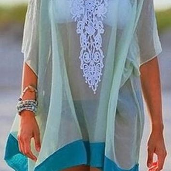 Casual Blue-Green Color Block Patchwork Lace Loose Dress