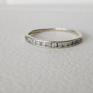 10k Estate Vintage Genuine Diamond Antique Diamonds Solid White Gold Art Deco Edwardian Georgian birthstone stacking wedding band ring