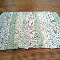 Rectangular Green and Cream Rag Rug, Durable, Crocheted Rag Rug, Recycled Materials