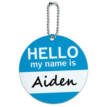 Aiden Hello My Name Is Round ID Card Luggage Tag