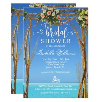 Floral Boho Summer Beach Wedding Bridal Shower Invitation