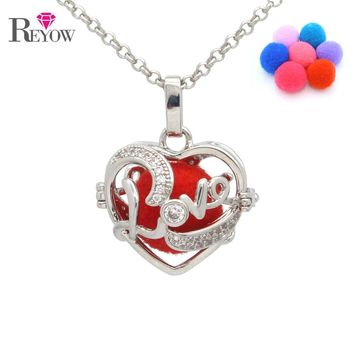 REYOW Silver Crystal Love Heart Pendant Locket Necklace With 7pcs Pompons For Aromatherapy Essential Oil Diffuser Jewelry
