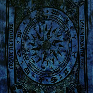 Twin Size Dark Navy Blue Color Celtic Cycle of Ages Tapestry Wall Tapestries Bohemian Tapestry Wall Hanging Yoga Tapestry Hippie Tapestry