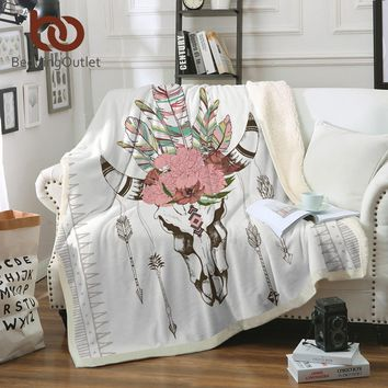 BeddingOutlet Bull Head Skull Throw Blanket Skeleton Bull Boho Sherpa Fleece Beds Blanket Velvet Plush Flowers cobertor