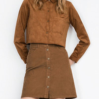 Khaki Button Through A-line Mini Skirt